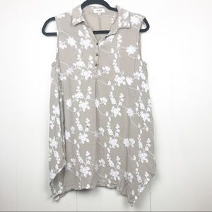 4/$25 Umgee embroidered floral collar button tank